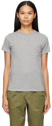 MAISON KITSUNÉ Grey Tricolor Fox Patch Pocket T-Shirt