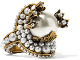 Gucci Gold-tone Faux Pearl Ring - 10