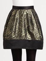 Pink Tartan Metallic Brocade Skirt