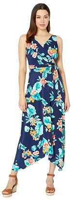 Donna Morgan Sleeveless Floral Print Matte Jersey Dress (Navy/Yellow Multi) Women's Dress