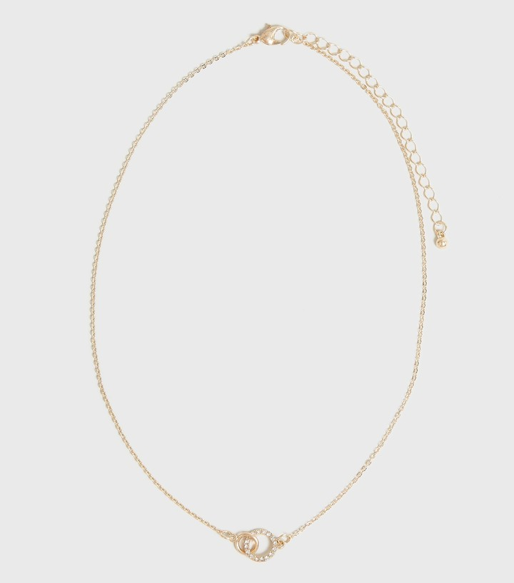 Thumbnail for your product : New Look Diamante Linked Circle Pendant Necklace