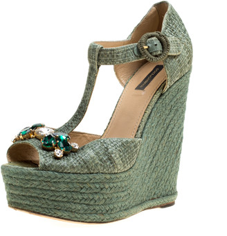 Dolce & Gabbana Green Raffia Bianca Crystal Embellished Espadrille Wedge Sandals Size 38