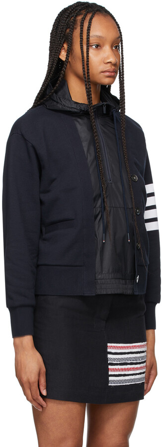 Thumbnail for your product : Thom Browne Navy Loopback & Ripstop 4-Bar Trompe L'oeil Hoodie