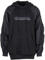 Juun.J 'Hide Your Lies' slogan embroidered ripstop sleeve sweatshirt