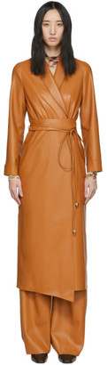 Nanushka Orange Vegan Leather Emery Coat