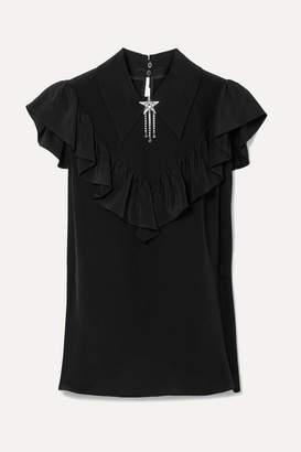 Miu Miu Embellished Ruffled Silk Crepe De Chine Top - Black