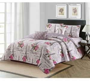 Harper Lane Vintage Paris 5 Piece Quilt Set King Bedding