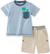 Kids Headquarters Blue Dinosaur Pocket Tee & Tan Shorts - Toddler & Boys