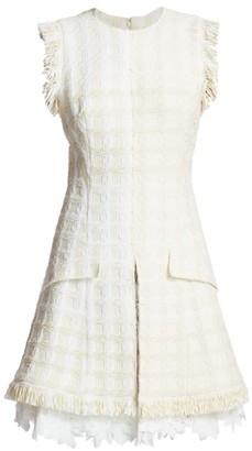 Oscar de la Renta Fringe Tweed A-Line Dress