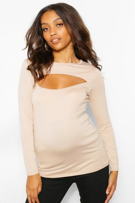 boohoo Maternity Cut Out Detail Long Sleeve T-Shirt