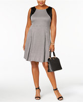 NY Collection Plus Size Faux-Leather-Detail Fit & Flare Dress