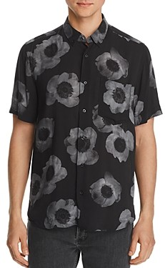 HUGO Ekilio Short-Sleeve Floral-Print Slim Fit Button-Down Shirt