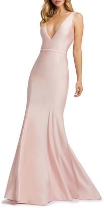 Mac Duggal V-Neck Corset-Back Jersey Mermaid Gown