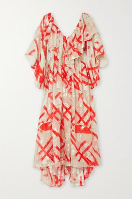 Preen by Thornton Bregazzi Issy Ruffled Asymmetric Printed Devore Georgette Dress - Red
