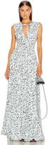 Proenza Schouler Printed Maxi Dress in Black & Sky Blue Leopard | FWRD