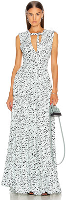 Proenza Schouler Printed Maxi Dress in Black & Sky Blue Leopard | FWRD