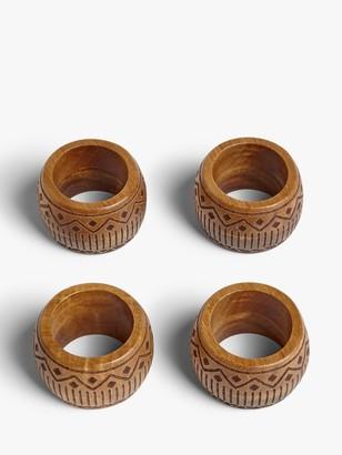 John Lewis & Partners Fusion Pattern Acacia Wood Napkin Rings, Set of 4, Natural