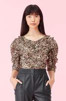 Rebecca Taylor Lynx Silk Burnout Ruffle Top