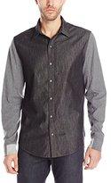 DKNY Men's Long Sleeve Chambray Shirt with Knit Slvs
