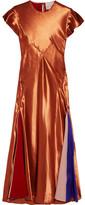 Roksanda Theile Crepe De Chine-paneled Satin Midi Dress - Copper