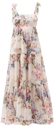Zimmermann Brighton Tiered Floral-print Cotton Dress - White Print