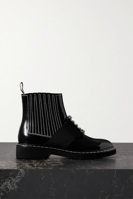 Roger Vivier Viv Ranger Crystal-embellished Patent-leather Chelsea Boots