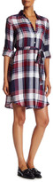 Max Studio Plaid Roll Up Sleeve Dress