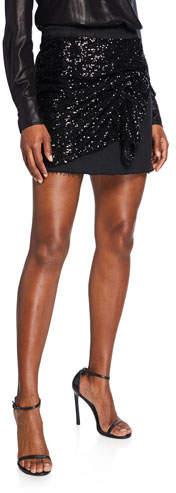 Pinko Sequined-Front Denim Mini Skirt