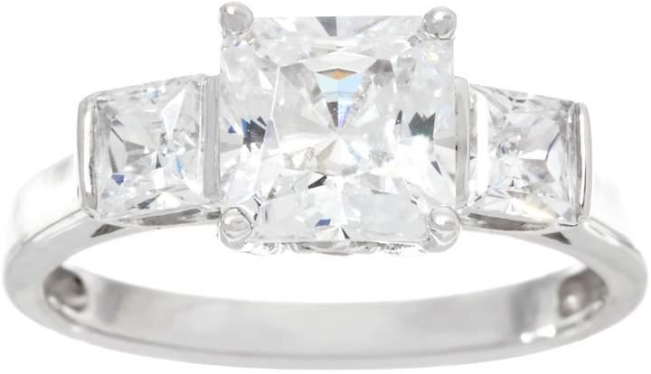 Diamonique Three Stone Princess Cut Ring, 14K Gold