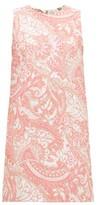 Dolce & Gabbana Floral-brocade Mini Shift Dress - Womens - Pink White
