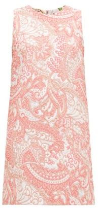 Dolce & Gabbana Floral-brocade Mini Shift Dress - Womens - Pink White