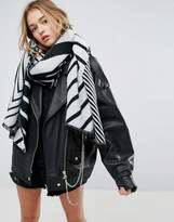 Asos Long Woven Spliced Chevron Scarf