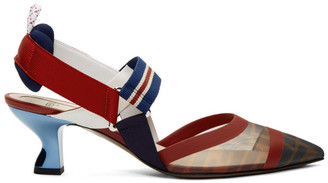 Fendi Navy and Red Colibri Slingback Heels