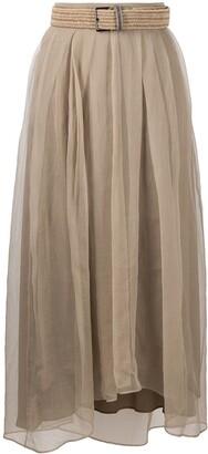 Brunello Cucinelli Raffia Belt Pleated Skirt
