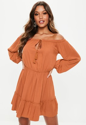Missguided Rust Bardot Tassel Skater Dress