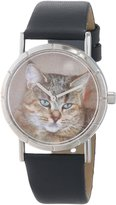 Whimsical Watches Kids' R0120053 Classic Pixie Bob Cat Black Leather And Silvertone Photo Watch