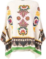 Etro knitted print cape - women - Silk/Polyamide/Wool - M