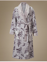 M&S Collection ShimmersoftTM Floral Print Carved Dressing Gown