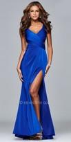 Faviana High Slit Faille Satin Open Back Evening Dress