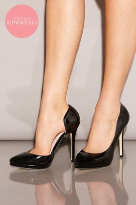 Little Mistress Black Patent Open Side Court Shoes