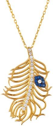Latelita Peacock Feather Evil Eye Necklace Gold