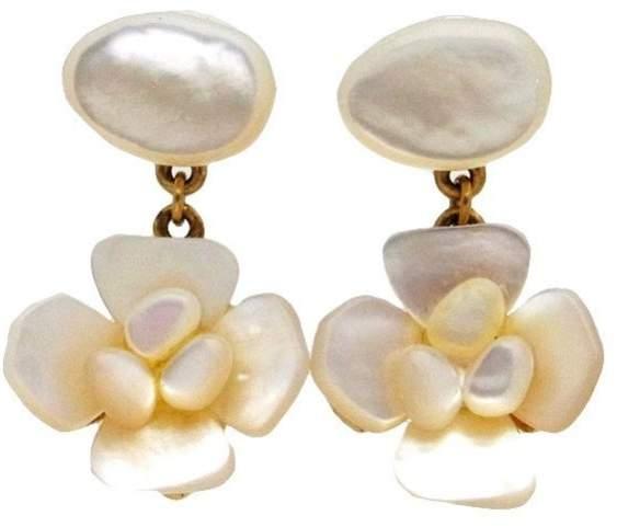 Chanel Gold Tone Metal White Shell Flower Dangle Stud Earrings