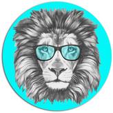 "Design Art Usa Funny Lion With Blue Glasses, Animal Disc Metal Wall Art, 23"""