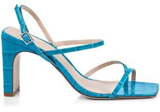 Schutz Amaia Slingback Croc-Embossed Leather Thong Sandals