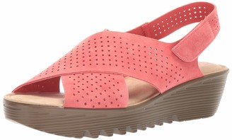 Skechers Women's Petite Parallel - Plot - Square Perf Peep Toe Slingback Wedge Sandal