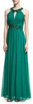 Marchesa Halter-Neck Sleeveless Beaded Chiffon Gown