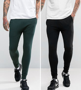 Asos Super Skinny Joggers 2 Pack Khaki/Black Save