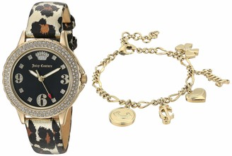 Juicy Couture Black Label Women's Swarovski Crystal Accented Gold-Tone and Leopard Strap Watch and Charm Bracelet Set JC/1006LEST