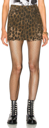 R 13 High Rise Mini Skirt in Leopard | FWRD