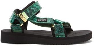 Suicoke Depa-v2 Snake-effect Velcro-strap Sandals - Dark Green